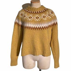 American Eagle Fair Isle Mustard Yellow Sweater